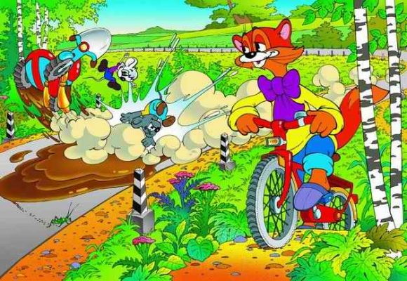 Картинки кота леопольда на велосипеде