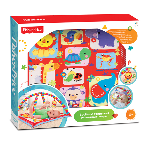 КОВРИК РАЗВИВАЮЩ. УМКА FISHER-PRICE, 78*78CM, МУЗ. НА БАТ., 2 ПОГРЕМУШКИ В КОМПЛ. В КОР.