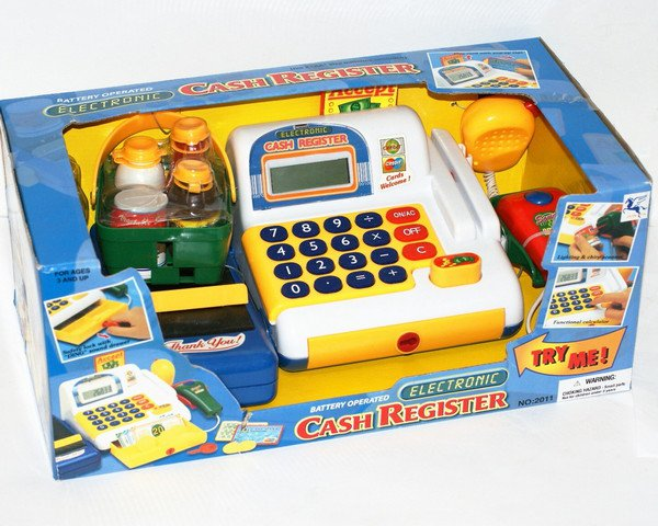 Касса со сканером , продуктами CASH REGISTER ELECTRONIC