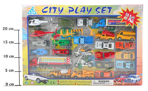 Набор мет.маш. BOX  41,9*28,9*2,8 см. City Play Set  арт. 8836