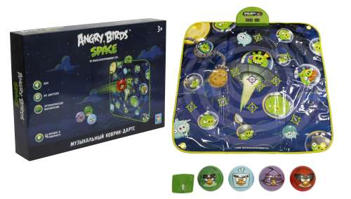 1toy муз.коврик-игра дартс Angry Birds Space, 4 мячика