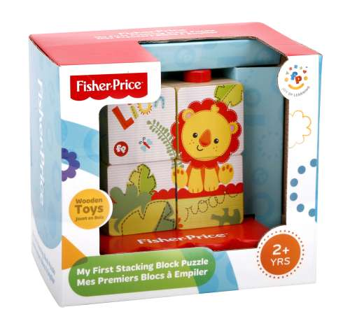 Fisher Price дер.кубик-пазл из 4 частей на платформе,13х10х12см,кор.