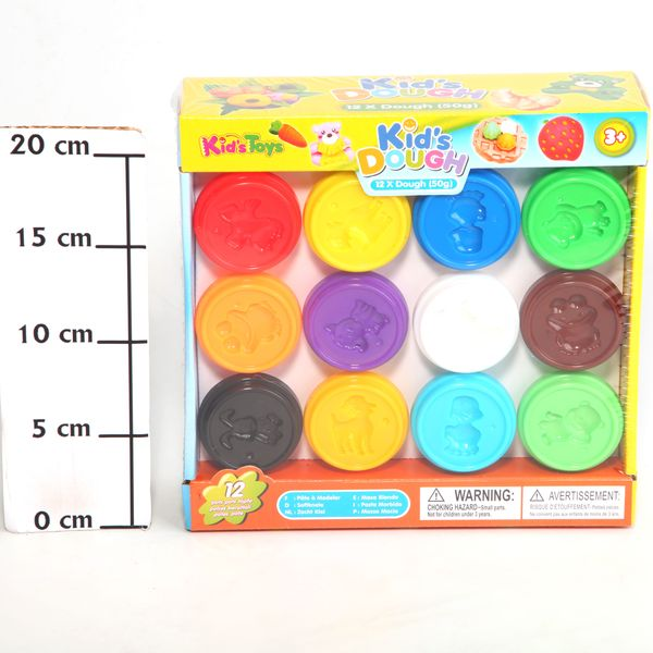 Набор пластилина Kids Dough, 50 гр., 12 шт., BOX 22х21,5х6,5 см., арт. 11041. Фото 2