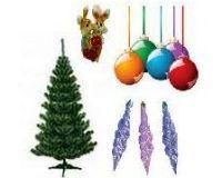 Новогодние товары 2017 елки, гирлянды, сувениры