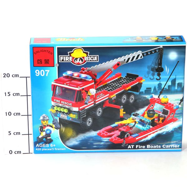 Конструктор пласт. Fire Rescue, 420 дет, 37*29*5,5см, BOX, ENLIGHTEN арт.907. Фото 2